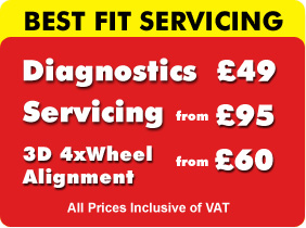 Diagnostics for �.00, Servicing from �.00, and 3D Wheel Alignement from only � at our Best Fit Glasgow Garage